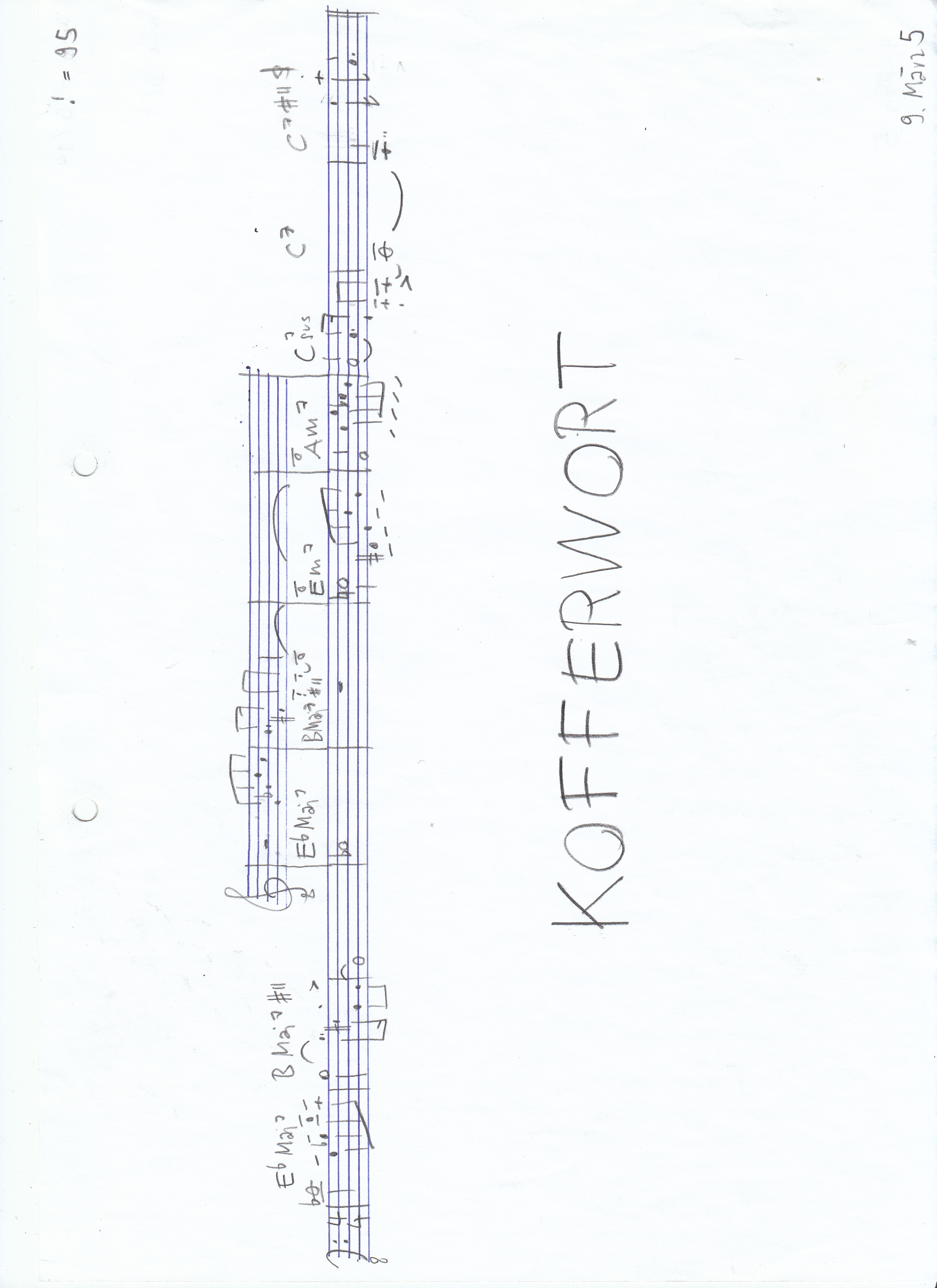 Kofferwort, Song Sheet Anfangsthema